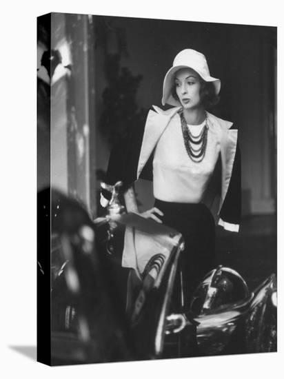 Slouch Hat in Garbo Tradition Made of White Satin For Cocktail Outfit-Gordon Parks-Stretched Canvas Print