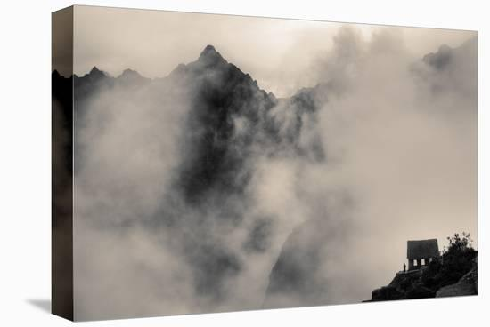 Small House in Foggy Mountains-Nish Nalbandian-Stretched Canvas Print