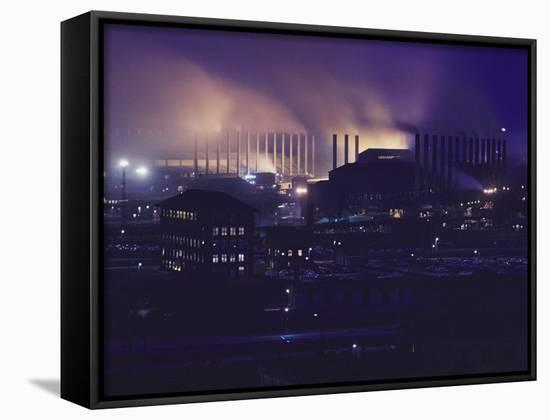 Smoke and Flame Rise Above the Mills of the United States Steel Corporation-B. Anthony Stewart-Framed Canvas Print