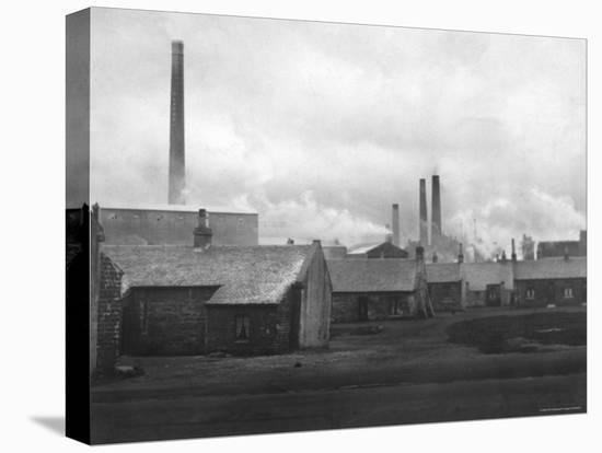 Smoke Billowing from Chimneys in Factory Town-Emil Otto Hopp?-Stretched Canvas Print