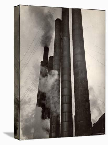 Smokestacks of Steel Plant, Taken from Boulevard of the Allies-Margaret Bourke-White-Stretched Canvas Print