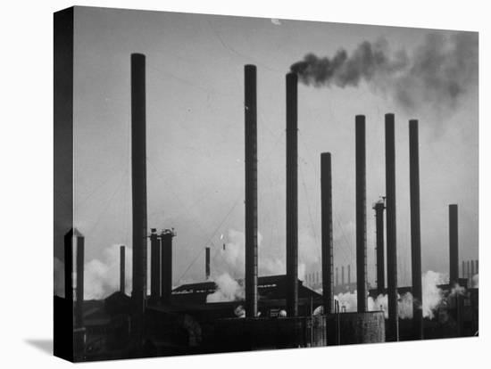 Smokestacks of Us Steel Plant-Margaret Bourke-White-Stretched Canvas Print