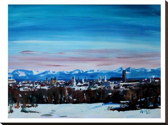 Snow Covered Winter Munich-M Bleichner-Stretched Canvas Print