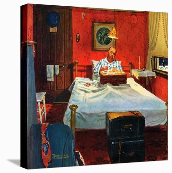 """""""Solitaire"""", August 19,1950-Norman Rockwell-Stretched Canvas Print"""