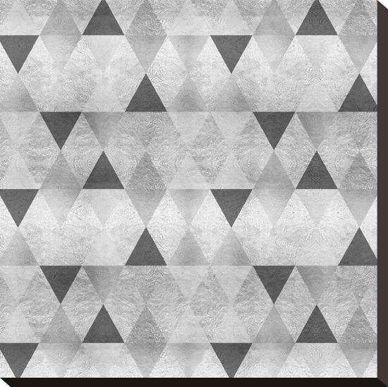 Sparkling Triangles Silver-Melanie Viola-Stretched Canvas Print