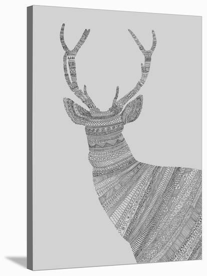 Stag Grey-Florent Bodart-Stretched Canvas Print
