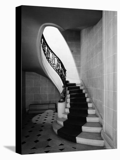 Staircase Inside Mansion Named Carolands, Built by Mrs. Harriet Pullman Carolan Schermerhorn-Nat Farbman-Stretched Canvas Print