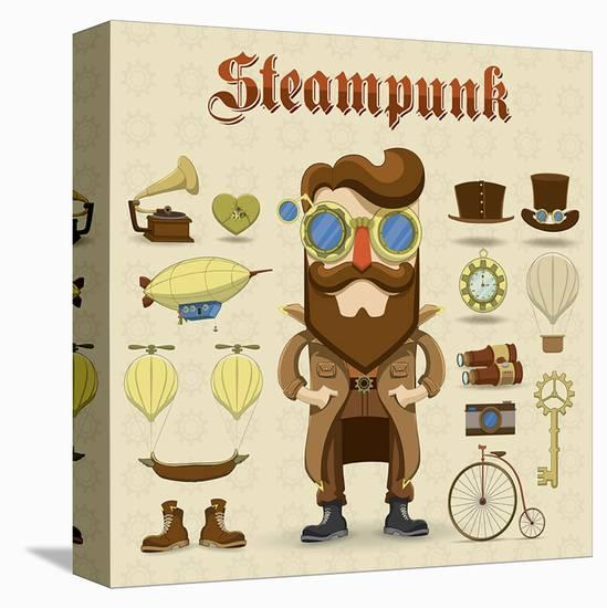 Steampunk Collage--Stretched Canvas Print