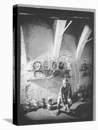 "Stroboscopic Photograph of Pablo Picasso ""Drawing"" with Light--Stretched Canvas Print"