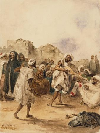Strolling Players, 1833-Eugene Delacroix-Stretched Canvas Print