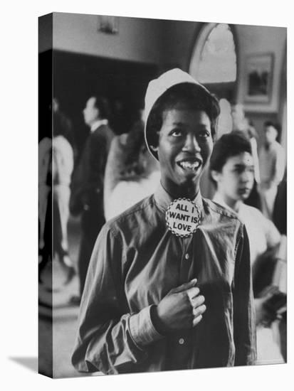 "Student Wearing Hat and Button on Shirt That Says: All I Want is Love on ""Old Clothes Day""-Gordon Parks-Stretched Canvas Print"