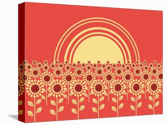 Sunflowers Landscape Background-GeraKTV-Stretched Canvas Print