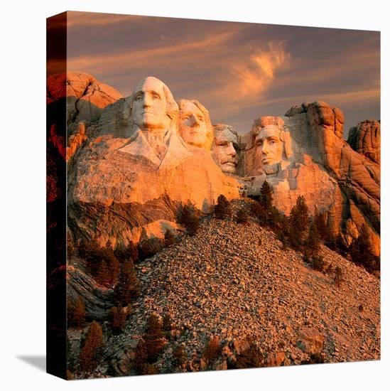 Sunset Over Mount Rushmore--Stretched Canvas Print