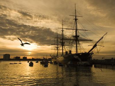 Sunset over the Hard and Hms Warrior, Portsmouth, Hampshire, England, United Kingdom, Europe-Stuart Black-Stretched Canvas Print