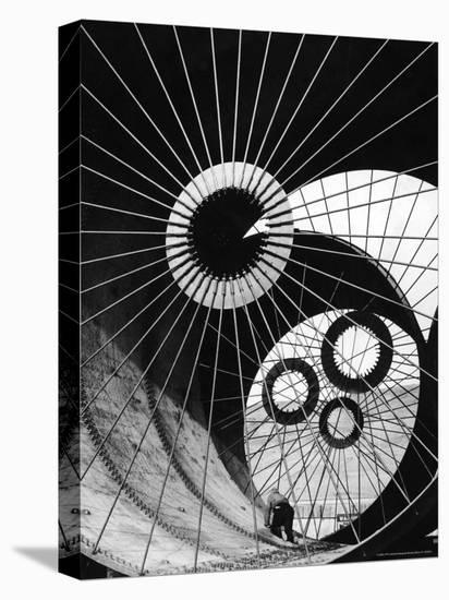 Support Struts Inside Section of a Giant Pipe Used to Divert Flow of Missouri River-Margaret Bourke-White-Stretched Canvas Print