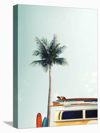 Surf Bus Yellow-Design Fabrikken-Stretched Canvas Print