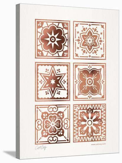 Talavera Mexican Tile Rose Gold-Cat Coquillette-Stretched Canvas Print