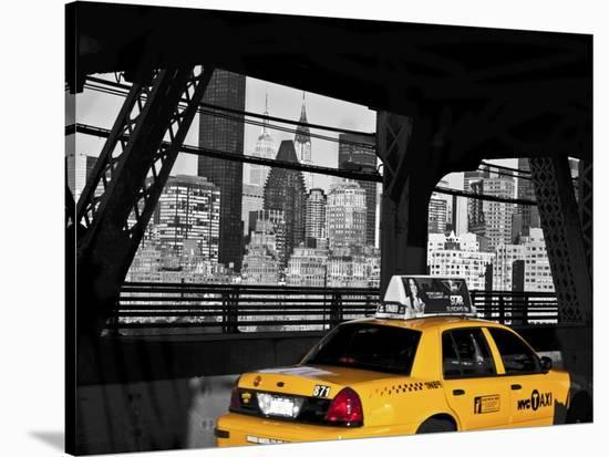 Taxi on the Queensboro Bridge, NYC-Michel Setboun-Stretched Canvas Print