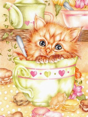 Teacup-Karen Middleton-Stretched Canvas Print