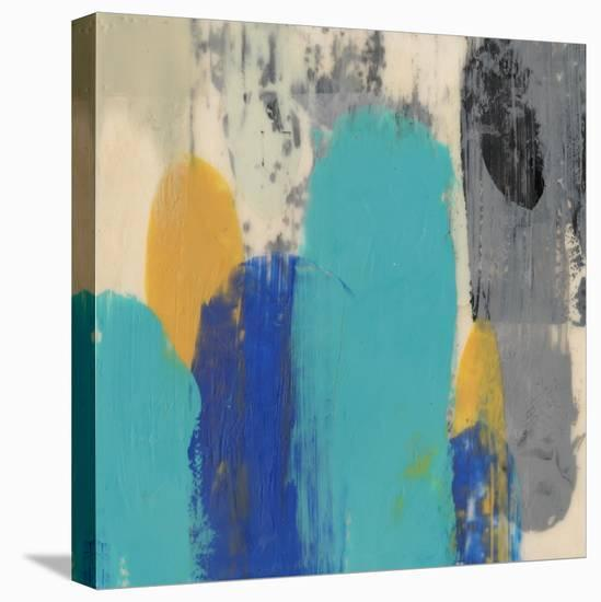 Teal Schmear II-Jennifer Goldberger-Stretched Canvas Print