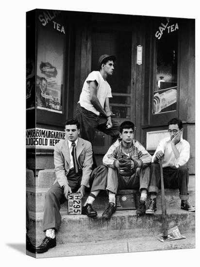 Teenage Boys Hangout on Stoop of Local Store Front-Gordon Parks-Stretched Canvas Print