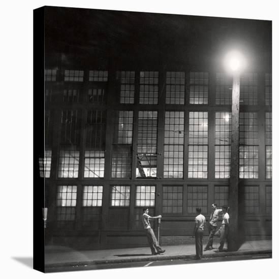 Teenage Boys Whiling Away a Summer Night on the Street-Gordon Parks-Stretched Canvas Print