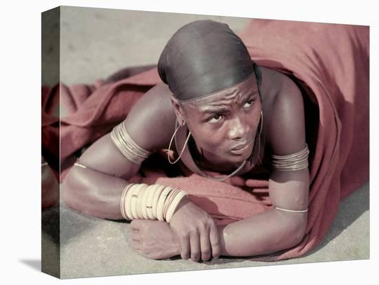 Tembu Miner Wearing Red Ochre Dyed Blanket Awaits Medial Check, Johannesburg, South Africa 1950-Margaret Bourke-White-Stretched Canvas Print