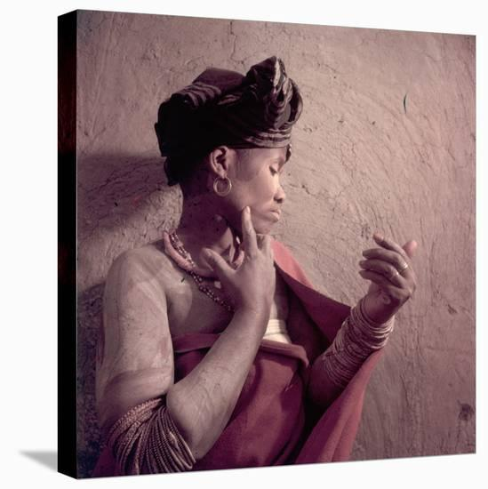 Tembu Tribeswoman Applies Make-Up Made from Raw Ochre, Trankeian Native Territories, Africa 1950-Margaret Bourke-White-Stretched Canvas Print