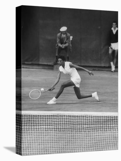 Tennis Player Althea Gibson in Action on Court During Match-Thomas D. Mcavoy-Stretched Canvas Print