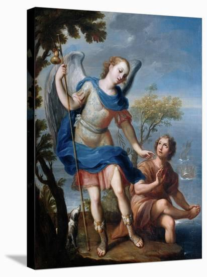 The Arcangel Raphael and Tobias-Miguel Cabrera-Stretched Canvas Print