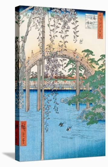 """The Bridge with Wisteria or Kameido Tenjin Keidai, Plate 57 from """"100 Views of Edo,"""" 1856-Ando Hiroshige-Stretched Canvas Print"""