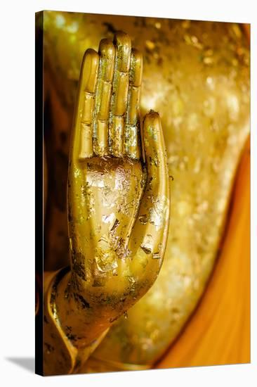 The Buddha - Peace Sign Hand--Stretched Canvas Print