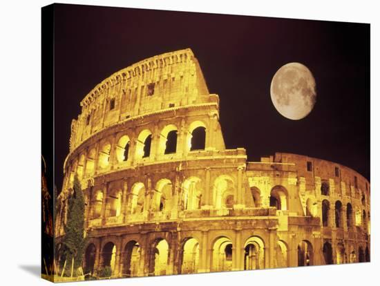 The Colosseum at Night, Rome, Italy-Terry Why-Stretched Canvas Print