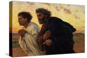 The Disciples Peter and John Running to Sepulchre on the Morning of the Resurrection, circa 1898-Eugene Burnand-Premier Image Canvas