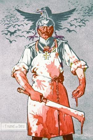 The German Kaiser Depicted as the Blood-Covered 'Envoy of God', French Postcard, 1915--Stretched Canvas Print