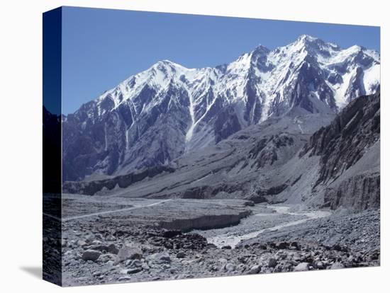 The Karakorum (Karakoram) Highway on the Chinese Side, with River Giz, Xinjiang, China, Asia-Occidor Ltd-Stretched Canvas Print