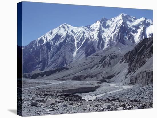 The Karakorum (Karakoram) Highway on the Chinese Side, with River Giz, Xinjiang, China, Asia-Occidor Ltd-Stretched Canvas Print