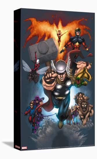 The Official Handbook Of The Marvel Universe: Book of the Dead 2004 Cover: Thor Jumping-Salvador Larroca-Stretched Canvas Print