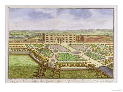 """The Royal Palace of Hampton Court, from """"Survey of London""""-Leonard Knyff-Stretched Canvas Print"""