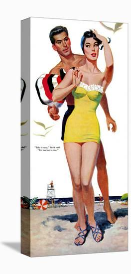 """The Trouble With Love - Saturday Evening Post """"Leading Ladies"""", June 4, 1955 pg.31-Wesley Snyder-Stretched Canvas Print"""