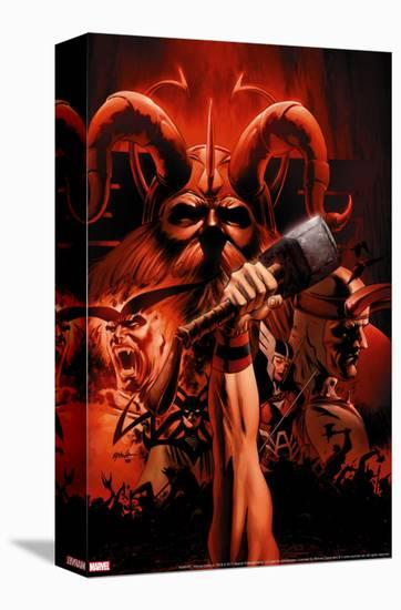Thor No.85 Cover: Thor and Odin Fighting-Steve Epting-Stretched Canvas Print