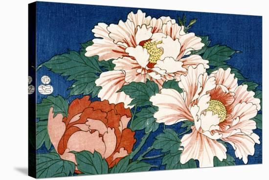 Three Stems of Peonies on a Blue Background, 1857-Ando Hiroshige-Stretched Canvas Print