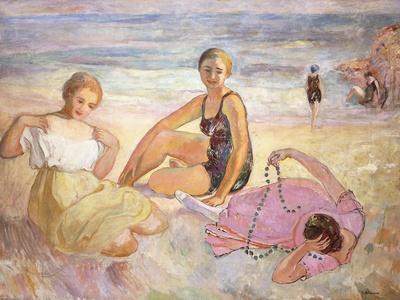 Three Women on the Beach; Trois Femmes a La Plage-Henri Lebasque-Stretched Canvas Print