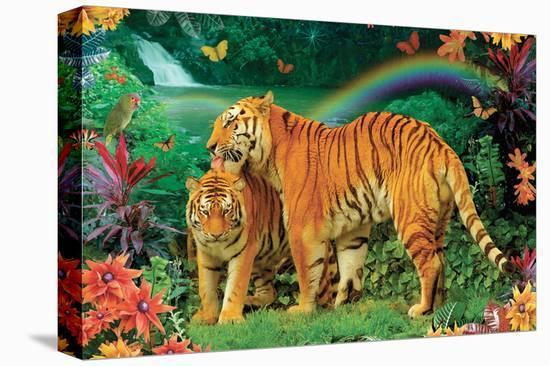 Tiger Love 2-Alixandra Mullins-Stretched Canvas Print