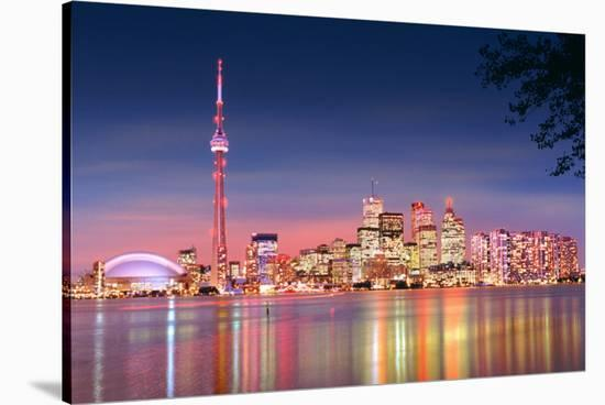 Toronto Skyline at Night--Stretched Canvas Print
