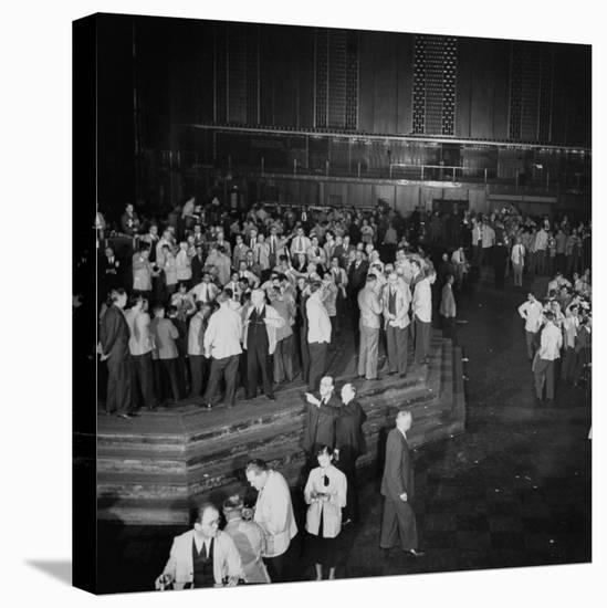 """Trading in the """"Grain Pit"""" at the Chicago Board of Trade-Wallace Kirkland-Stretched Canvas Print"""