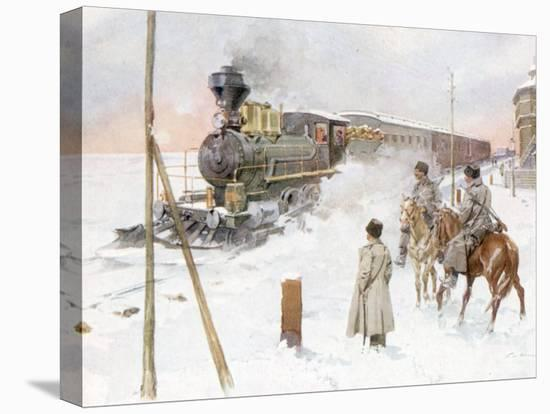 Trans-Siberian Railway Train Pulling Out of Station in Snowy Landscape--Stretched Canvas Print