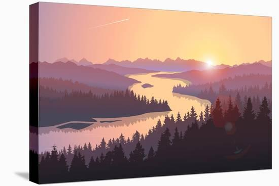Travel Landscape with a Large River Running among Forested Hills at Sunrise. Vector Illustration Of--Stretched Canvas Print