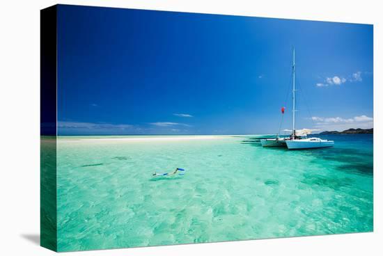 Tropical Sea off Catamaran--Stretched Canvas Print