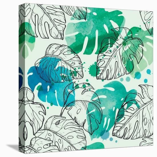 Tropical Watercolor Leaf Pattern-Mirifada-Stretched Canvas Print